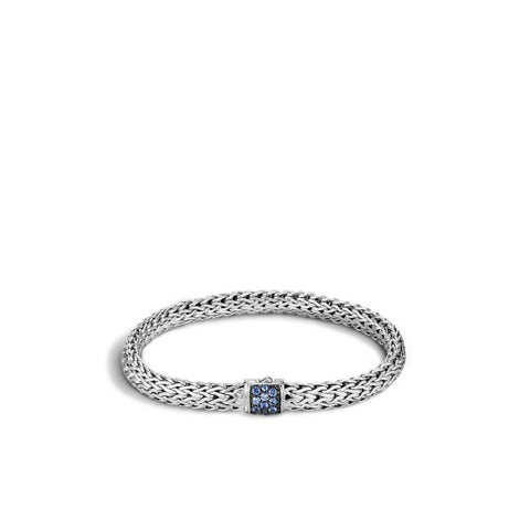 John Hardy Classic Chain Silver Lava Small Bracelet with Blue Sapphire