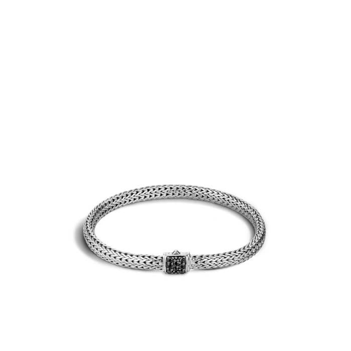 John Hardy Classic Chain Silver Lava Extra-Small Bracelet with Black Sapphire