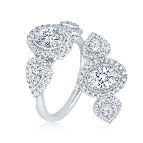 "Mountz Collection 1.00TW Oval & Pear Halo ""Ellipse"" Engagement Ring in 14K White Gold"