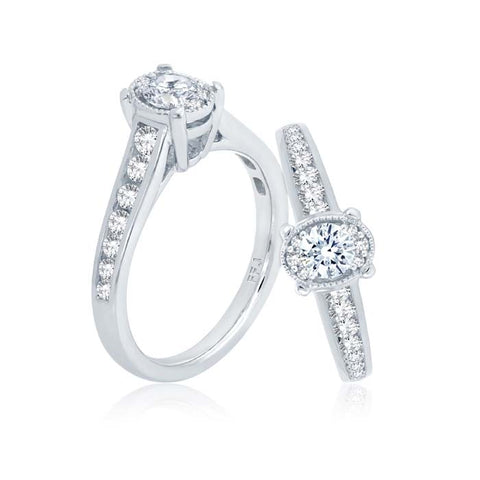 "Mountz Collection .70TW Oval ""Ellipse"" Engagement Ring 14K White Gold"