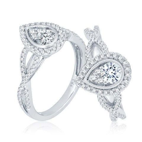 "Mountz Collection .75CTW Pear Shaped Halo ""Ellipse"" Twist Engagement Ring in 14K White Gold"