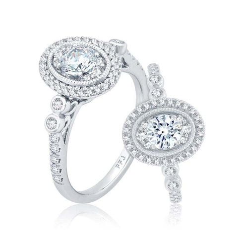 "Mountz Collection .90TW Oval Halo ""Ellipse"" Engagement Ring in 14K White Gold"