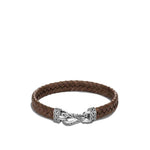 John Hardy Mens Asli Classic Chain Link Sterling Silver and Brown Braided Leather Bracelet