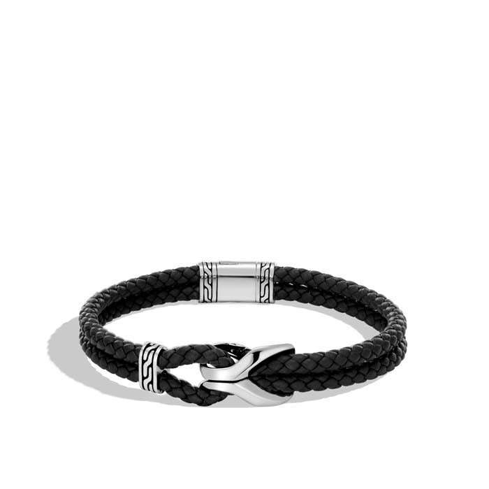 John Hardy Men's Asli Classic Chain Black Leather and Sterling Silver Cord Bracelet