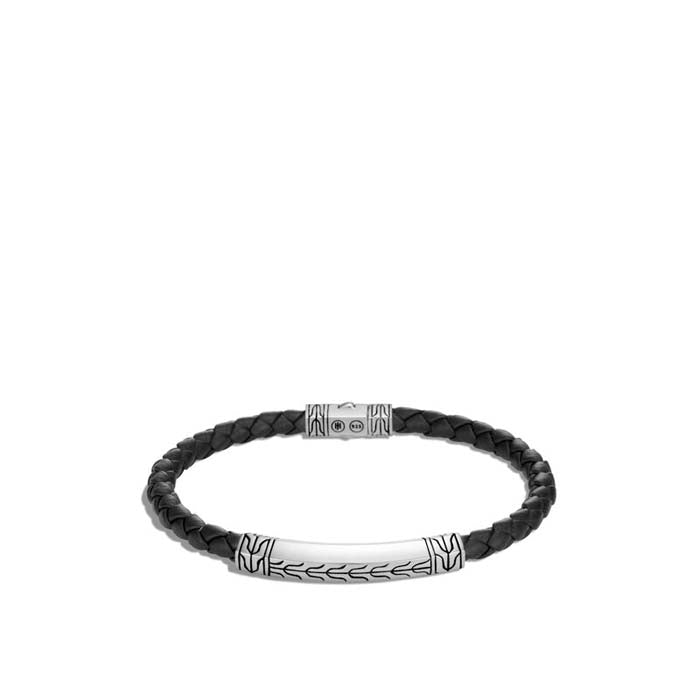 John Hardy Men's Classic Chain Staion Bracelet in Sterling Silver and Black Leather