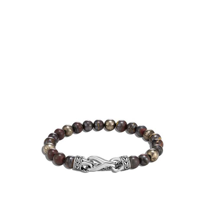 John Hardy Mens Asli Classic Chain Sterling Silver Link Bracelet with Tiger Iron and Pyrite Beads
