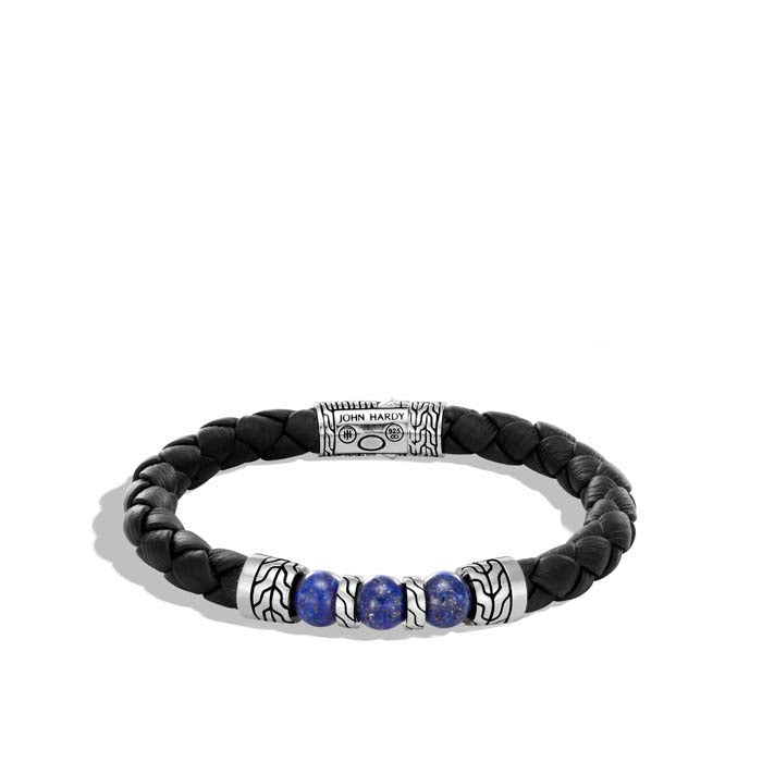 John Hardy Men's Classic Chain Woven Black Leather and Lapis Lazuli Beaded Bracelet in Sterling Silver