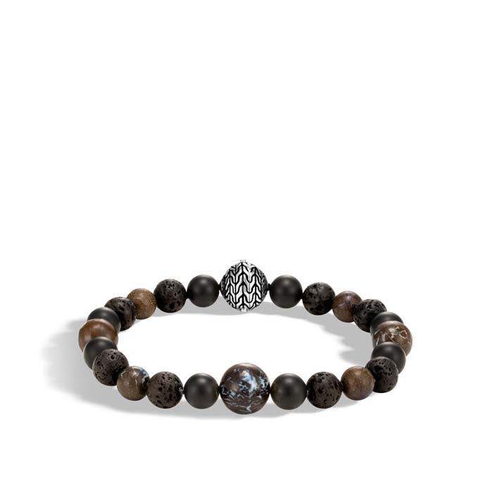 John Hardy Classic Chain Collection Boulder Opal, Black Onyx, and Black Volcanic Beaded Sterling Silver Bracelet