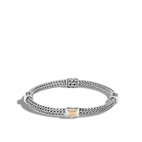 John Hardy Classic Chain Hammered Gold & Silver Extra Small Four Station Bracelet with Pusher Clasp