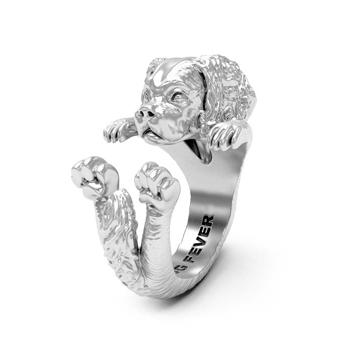 Dog Fever Cavalier King Charles Spaniel Hug Ring, Sterling Silver