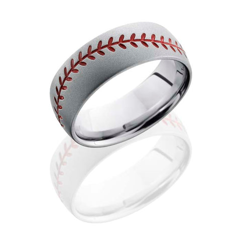 Lashbrook Mens 7mm Cobalt Wedding Band with Red Enamel Baseball Stitch Pattern