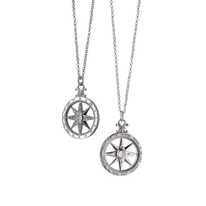 "Traveler Global Compass Charm Necklace on 30"" Chain Sterling Silver"
