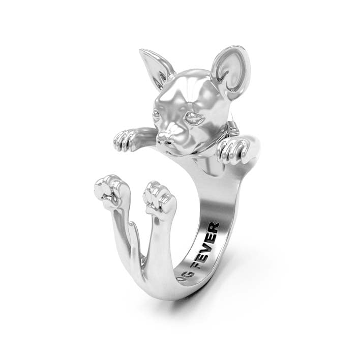 Dog Fever Chihuahua Hug Ring, Sterling Silver