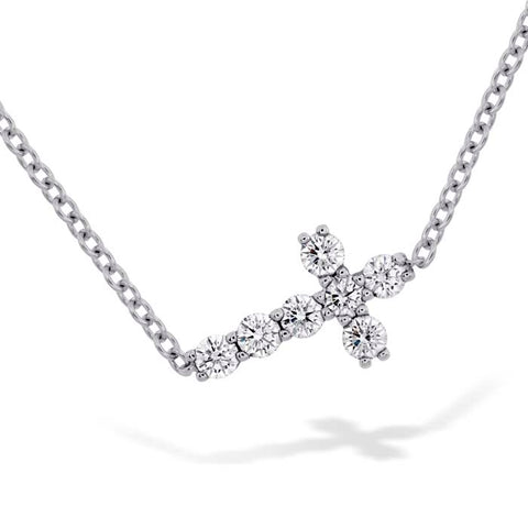Hearts on Fire .16-.22CTW Charmed Horizontal Diamond Cross Necklace in 18K White Gold