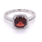 Mountz Collection Cushion Garnet Ring with Diamond Halo/Shoulders in 14K White Gold