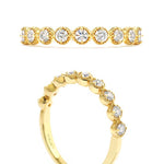 Hearts on Fire .24-.32CTW Diamond Bar Single Prong Milgrain Band in 18K Yellow Gold