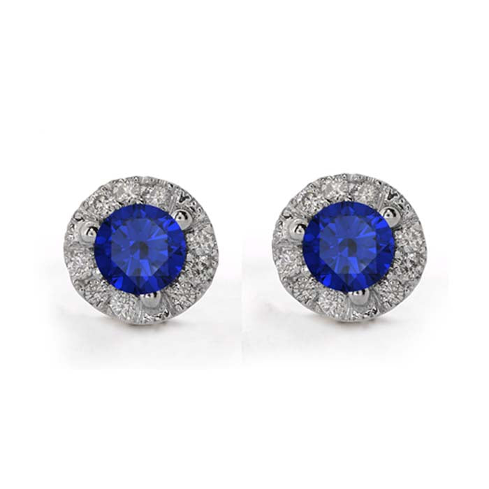 Mountz Collection .35CTW Blue Sapphires and .10CTW Diamond Cluster Stud Earrings in 14K White Gold