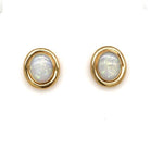 Estate Opal Oval Button Earrings in 14K Yellow Gold