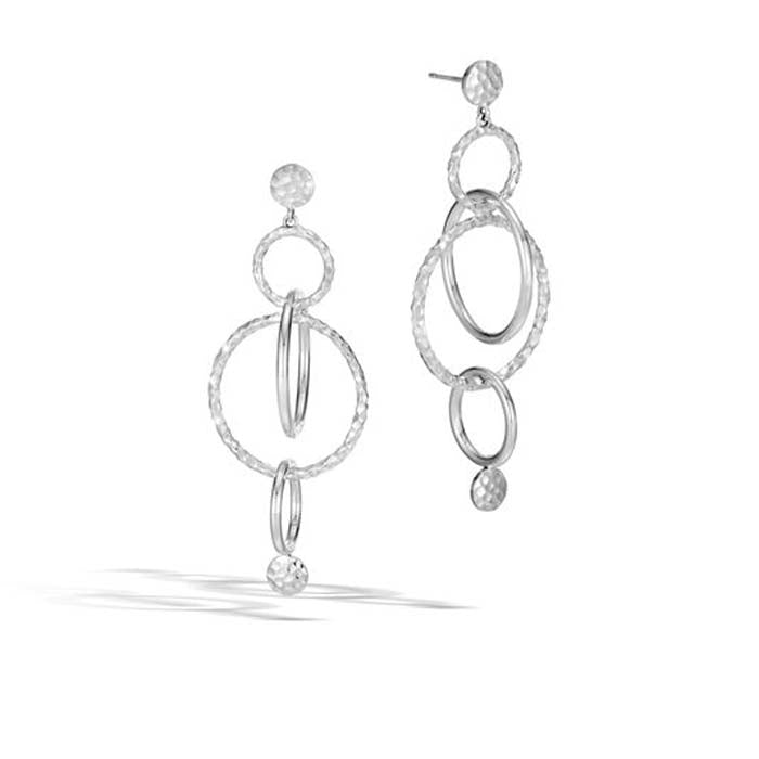 John Hardy Dot Hammered Orbital Long Drop Earrings in Sterling Silver