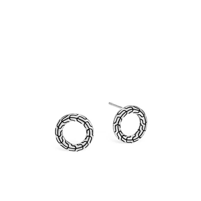 John Hardy Round Stud Classic Chain Earrings in Sterling Silver