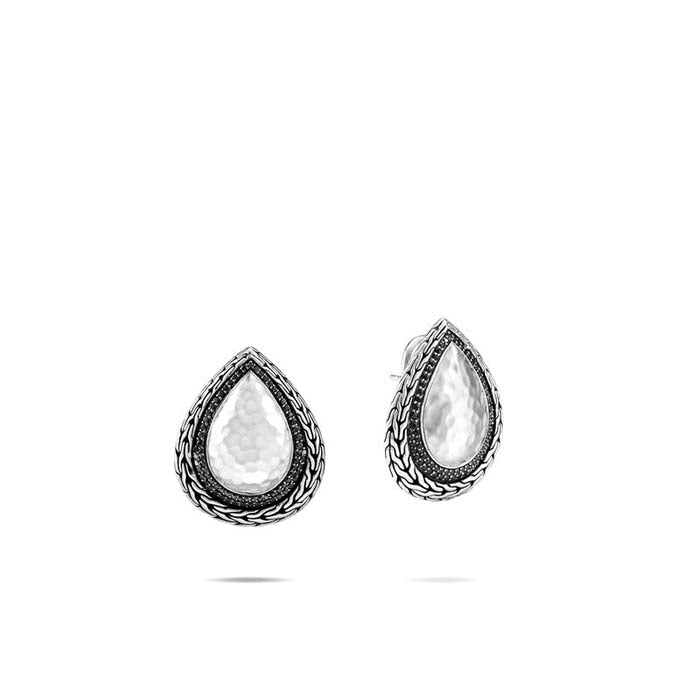 John Hardy Black Sapphire and Black Spinel Classic Chain Hammered Teardrop Earrings in Sterling Silver