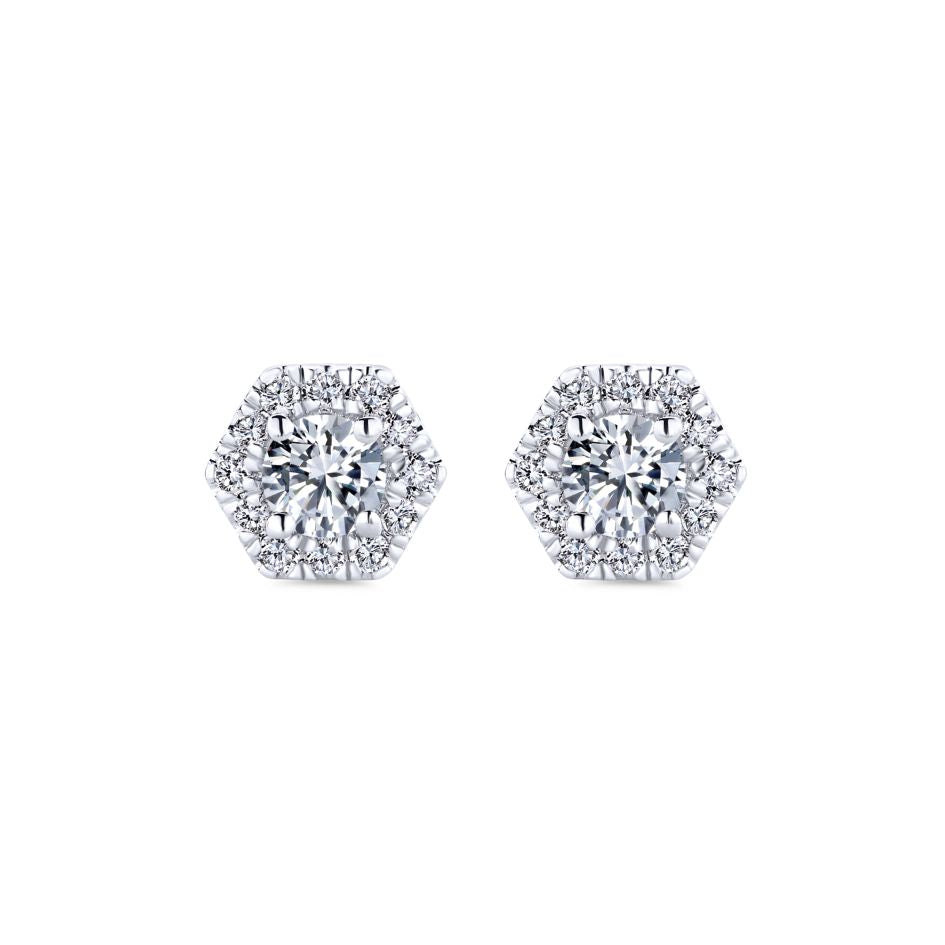 "Gabriel & Co 1/2CTW ""Messier"" Hexagon Stud Earrings in 14K White Gold"