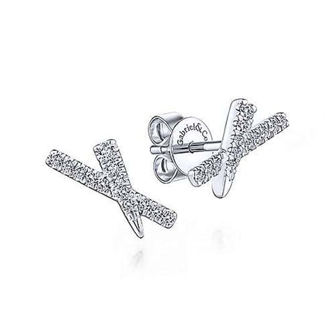 "Gabriel & Co .16CTW Tapered ""X"" Diamond Stud Earrings in 14K White Gold"