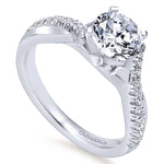 "Gabriel & Co .19CTW ""Scout"" Contemporary Twist Semi-Mounting 14K White Gold"