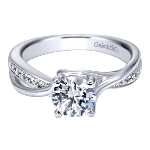"Gabriel & Co .08CTW ""Alessa"" Bypass Semi-Mounting in 14K White Gold"