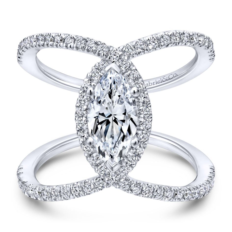 "Gabriel & Co .50CTW ""Aurora"" Nova Collection Semi-Mounting for Marquise Center 14K White Gold"