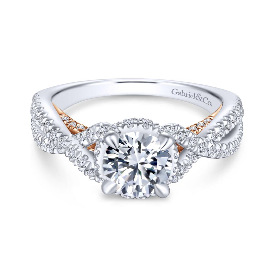 "Gabriel & Co .74CTW ""Gisela"" Crown Diamond Semi-Mounting 14K White and Rose Gold"