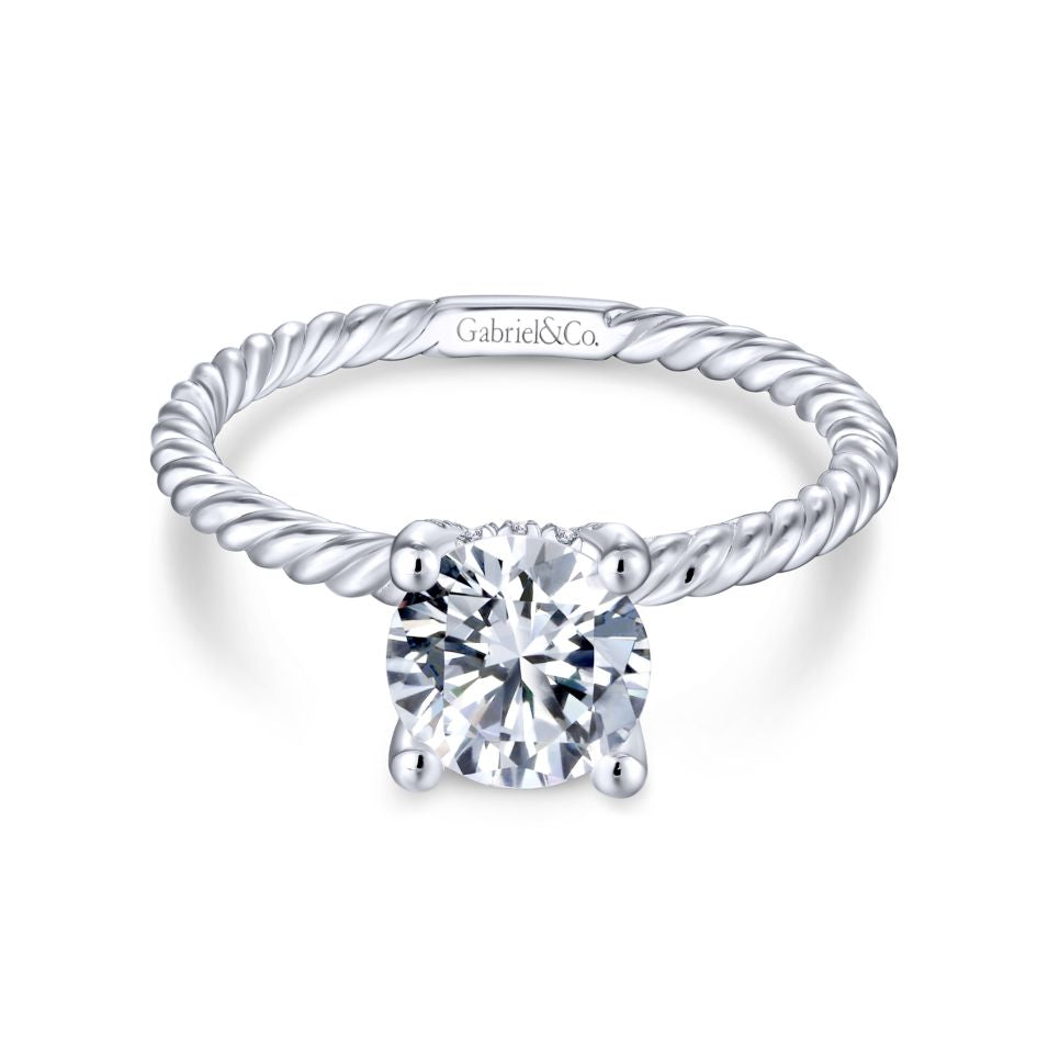 "Gabriel & Co ""Bobbi"" Solitaire Rope Engagement Ring Mounting 14K White Gold"