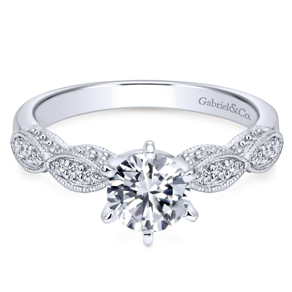 "Gabriel & Co .11CTW ""Clara"" Victorian Diamond Engagement Ring Semi-Mounting in 14K White Gold"