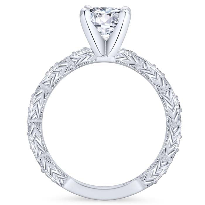 "Gabriel & Co .12CTW ""Sadie"" Vintage-Style Engagement Ring Semi-Mounting 14K White Gold"