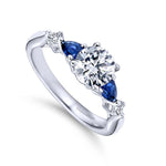 "Gabriel & Co .55TW Sapphire and .10CTW Diamond ""Carrie"" Semi-Mounting 14K White Gold"