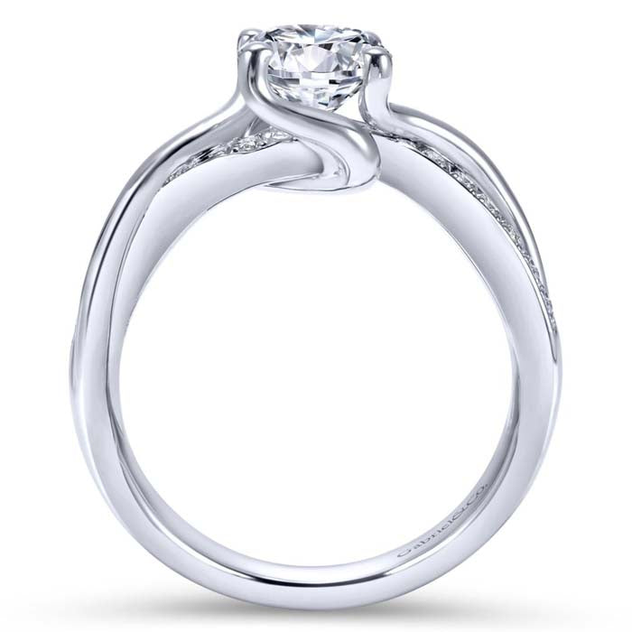 "Gabriel & Co .15CTW ""Aleesa"" Bypass Semi-Mounting in 14K White Gold"