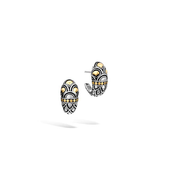 John Hardy Naga Shrimp Hoop Earrings Sterling Silver and 18K Yellow Gold