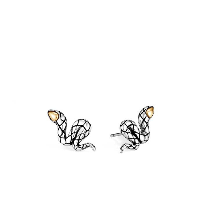 John Hardy Legends Cobra Stud Earrings in Sterling Silver and 18K Yellow Gold
