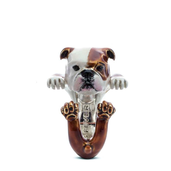 Dog Fever English Bulldog Hug Ring, Enameled Sterling Silver