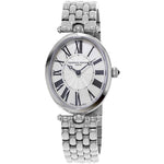 Frederique Constant Ladies Oval ART DECO White Mother-of-Pearl & Guilloche Sunray Dial Stainless Steel Bracelet Watch