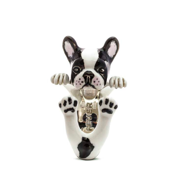 Dog Fever French Bulldog Hug Ring in Sterling Silver with Enamel