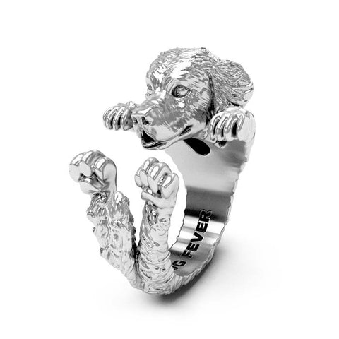 Dog Fever Golden Retriever Hug Ring, Sterling Silver