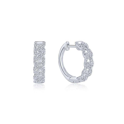 "Gabriel & Co ""Kaslique"" Collection .32TW Diamond Chain Link Huggie Earrings in 14K White Gold"