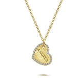 Gabriel & Co .14TW Diamond Petite Heart Pendant in 14K Yellow Gold