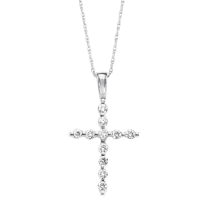 Gemsone .26CTW Diamond Cross Pendant in 14K White Gold
