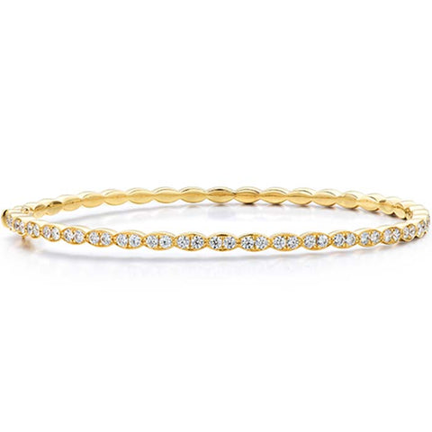 Hearts on Fire .92-1.02CTW Lorelei Floral Diamond Bangle in 18K Yellow Gold, Size Medium
