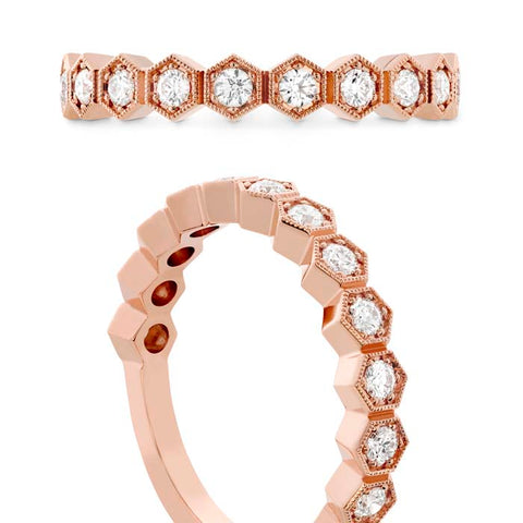 Hearts on Fire .34-.40CTW Hex Diamond Band in 18K Rose Gold