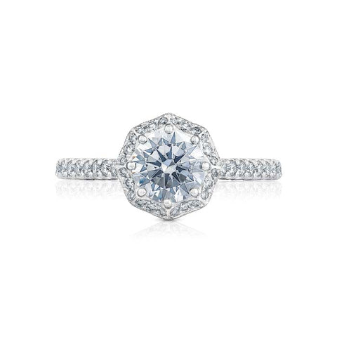 Tacori Bloom Halo Engagement Ring Semi Mount 18K White Gold with Diamonds