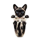 Cat Fever Siamese Hug Ring Sterling Silver with Enamel