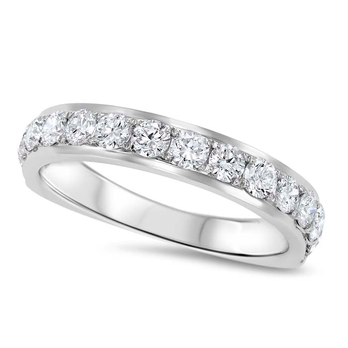 Gemsone Overtures Collection Polished Wedding Band 14K White Gold Ring with 1.02CTW Diamonds